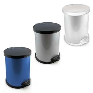 Relaxdays Treteimer Mülleimer Abfalleimer aus Metall rund 12 L Volumen herausnehmbarer Kunststoffeimer