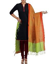 Unnati Silks Women Orange-green Pure Handloom Andhra Khadi Cotton chunni