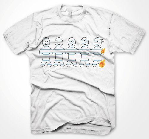 Mens Funny Tshirts Paper Ginger Bread Men On Fire White T-Shirt Various Size