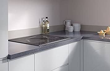 Egger Square Edge Cosmic Grey Effect Kitchen Bathroom Laminate Worktop Offcut Work Surface 38mm Breakfast Bar - 3m x 1200mm x 8mm Splashback