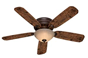Hunter 53014 Palatine 5-Blade Single Light Ceiling Fan with Knotted Cedar/Peppered Walnut Blades and Tea Stain Glass Light Bowl, 52-Inch, Old Walnut Finish