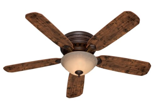 Hunter Fan Company 53014 Palatine 5-Blade Single Light Ceiling Fan with Knotted Cedar/Peppered Walnut Blades and Tea Stain Glass Light Bowl, 52-Inch, Old Walnut Finish