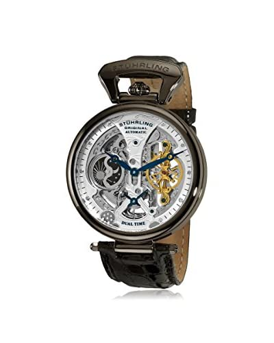 Stuhrling Original Men's 127A2.33F52 Emperor's Grand DT Automatic Silver/Black Leather Watch