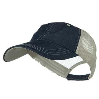 big size low profile special cotton mesh cap denim beige