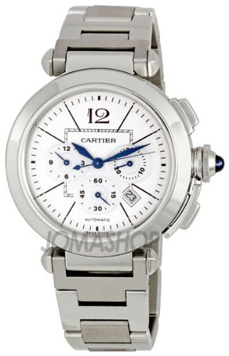 Cartier Men's W31085M7 Pasha Silvered Opaline with Guilloche Inner Square Dial Watch