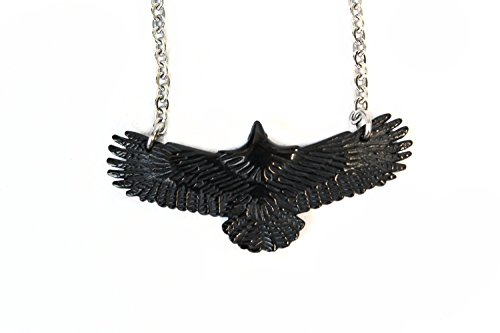 Black-Raven-Necklace-Pendant-In-Flight-Crow-Gothic-Wicca-Pagan-Punk-Alchemy-STAINLESS-STEEL-316L