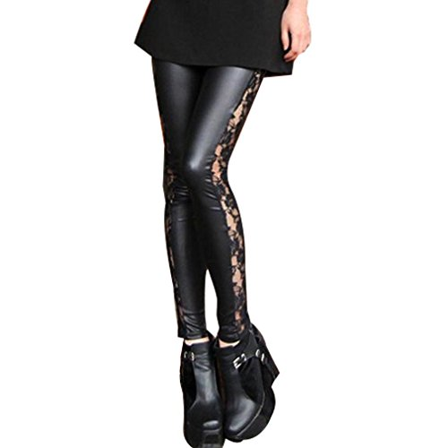Amour Sexy Black Goth Punk Wetlook Leggings