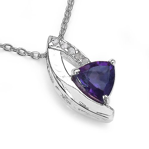 0.70 Carat Genuine Amethyst and 0.12 CT TDW Genuine Diamond 925 Sterling Silver Pendant