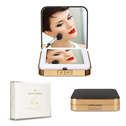 Travel Makeup Mirror Handheld with Lights & 5x Magnification Foldable Cosmetic Mirror 2-Sided Rechargeable for Pocket Handbag Purse (2.87in2.87in, Gold & Black)