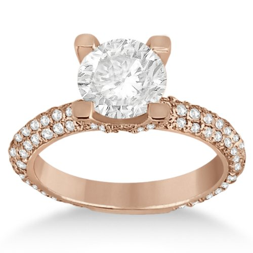 Eternity Pave Set Trio Diamond On Crown Engagement Ring For Women 14K Rose Gold Setting (0.88Ct)
