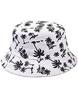 Mixmax Zipper Graffiti Flat Bucket Hat with Coconut Tree Pattern Outdoor Hatsun Hat