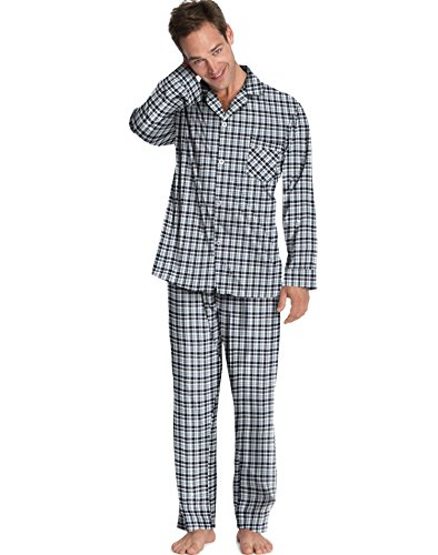Hanes Men'S Woven Pajamas Navy-Green Plaid L Hanes Men'S Woven Pajamas front-821195