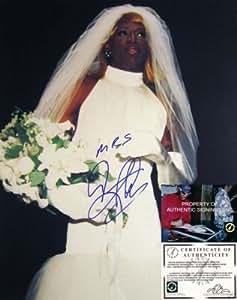 mrs dennis rodman signed wedding dress 16x20 sports