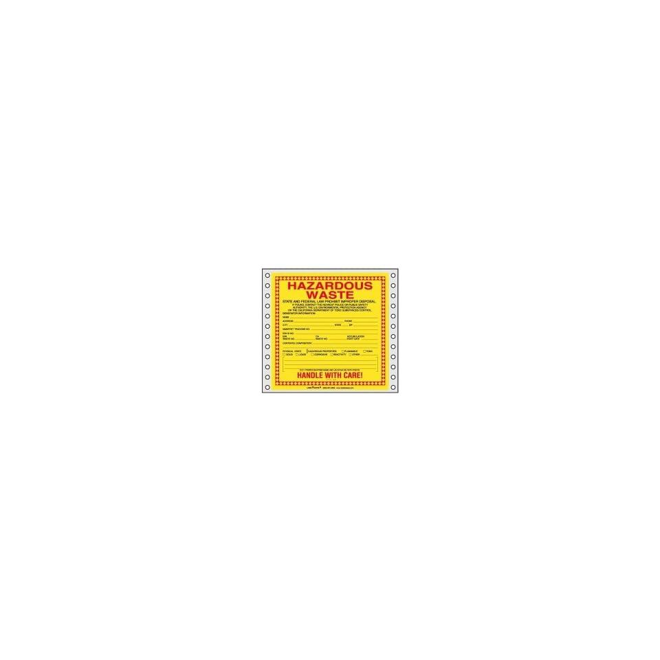 California Waste Label, Pin Feed Vinyl