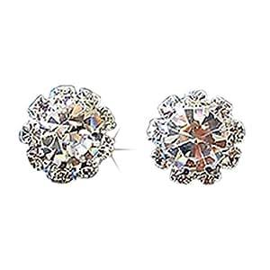 Damen Kristall Straß Ohrstecker Ohrringe kugelförmig