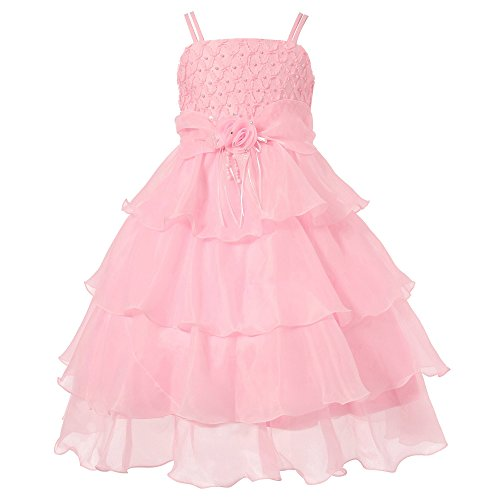 Richie House Little Girls' Pink Layered Dress with Rosette and Pearl Accents RH0918-A-6/7