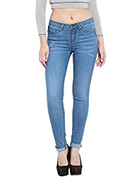 TARAMA Light Blue color Push Up Fit Cotton Stretch Denim fabric Full length Jeans for women's