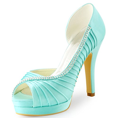 ElegantPark EP11064-IPF Women Peep Toe Platform High Heel D'orsay Pleated Satin Evening Wedding Pumps Mint US 8