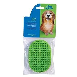 UGroom Rubber Curry Brush for Dog, Blue
