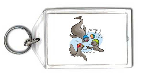 Keychain with water, polo, sport, seal, animal, ball