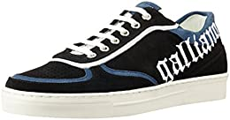 Galliano Mens Black and White Suede Sneakers B012FBLN48
