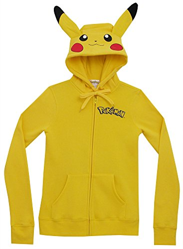 Meilaier Womens Cute Anime Pikachu Hoodie Zip Up Coats Jackets Sweatshirt Costume (M)