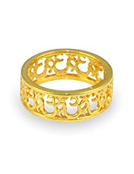 Exxotic Religious 24K Gold Plated Silver Om Band Ring For Men And Women