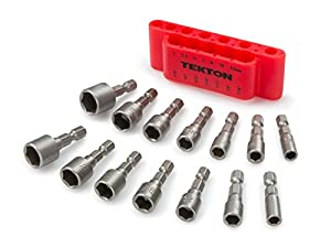 TEKTON 2938 Quick-Change Power Nut Driver Bit Set with Detents, 14-Piece