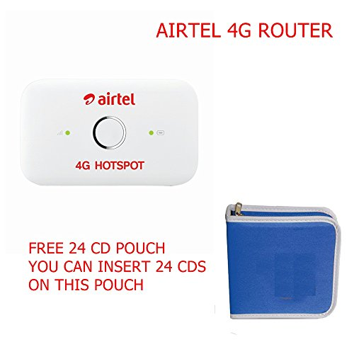 Huawei Airtel 4G wifi hotspot unlocked works with any 4G network - Free 24 Cd Pouch ( You Can Insert 24 Cds Or Dvds On this Pouch)