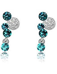 Yiwu Crystal Multicolor 18k Platinum Plated Metal Drop Earring Fashion Jewellery For Women