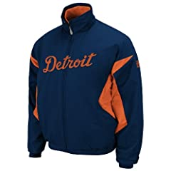 MLB Detroit Tigers Lightweight Full Zip Thermabase Premier Road Jacket by Majestic