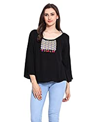 Black Solid Cotton Embroidered Top Medium