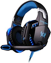 VersionTech KOTION EACH G2000 Professional Stereo Noise Isolation Gaming Headphones Headset Earphones Earbuds with Microphone, In-Line Volume Control, LED Lights for PC Computer Gamers - Blue
