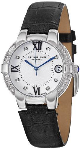 Stuhrling Original Donna 338LS.12152 Symphony Regent Countess Swiss Quartz Genuine Diamond Date Black Pelle Strap Orologio