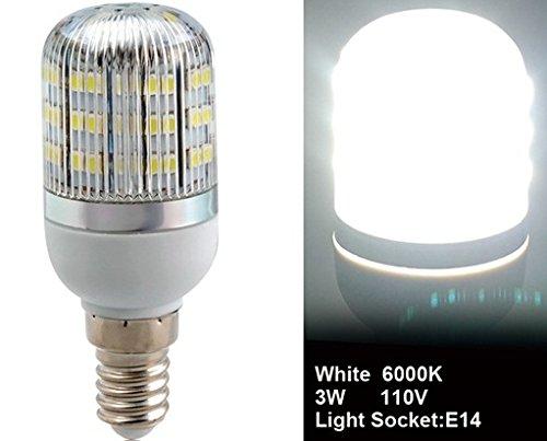 True 3528-48L-110V 3W E14 48 X 3528Smd White Led Corn Bulb With Cover
