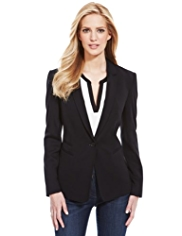 M&S Collection Notch Lapel 1 Button Blazer