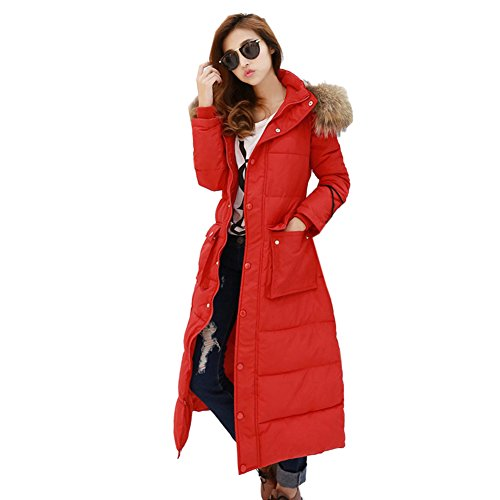 Aileen88 Women's Slim Faux Fur Collar Long Hooded Warm Down Coat Jacket Parka