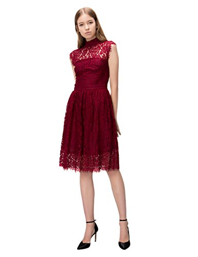 Simple Retro Women's 1950s Mock Neck Cap Sleeve Lace Cocktail Pleated Dress (M, Wine Red)