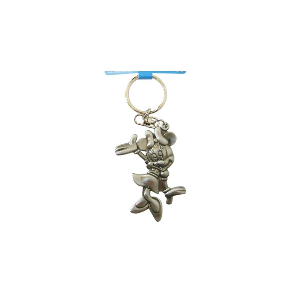 Disney Minnie Mouse Keychain Metal Plate Key Ring