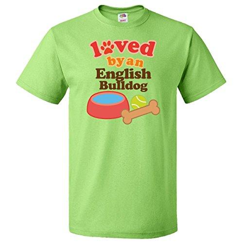 Inktastic English Bulldog Loved By A (Dog Breed) T-Shirt Small Key Lime