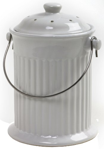 Norpro 1 Gallon Ceramic Compost Keeper, White (Kitchen Compost compare prices)