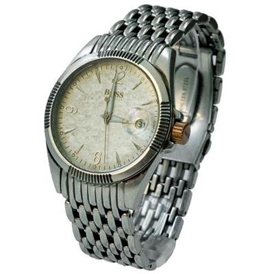 Hugo Boss Men's Stainless Steel Bracelet Watch; 1512117 Analogue Antique Metallic Textured Dial with Magnified Date Display