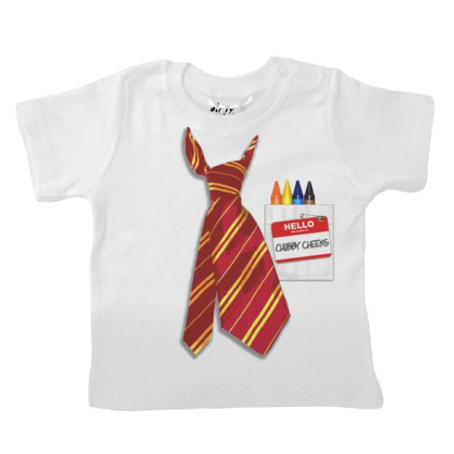 Dirty Fingers - Neck Tie & Name Badge, Chubby Cheeks - Baby & Toddler T-Shirt, 18-24 Months, White