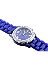 New Silicone Gel Ceramic Style Jelly Band Crystal Bezel Womens Watch Royal Blue