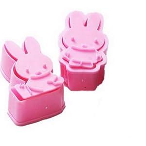 EOZY 2Pcs Moules Miffy Lapin En Silicone Moule à Gâteau Coffret Mignardises Rose