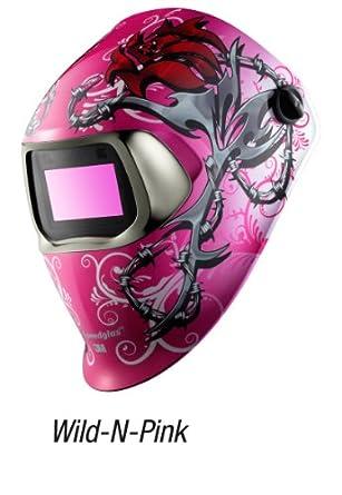 3M Speedglas Wild-N-Pink Welding Helmet 100 with Auto-Darkening Filter 100V- Shades 8-12, Model 07-0012-31WP