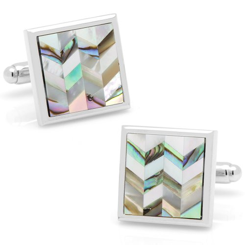 Ox And Bull Mens Plated Abalone & Mop Chevron Cufflinks