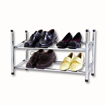Design-Schuhregal-Chrom-stapelbar-und-ausziehbar