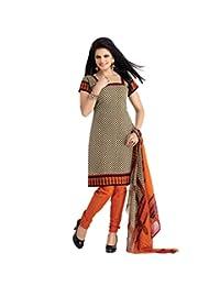 BanoRani Womens Beige & Orange Color PolyCotton UnStitched Dress Material