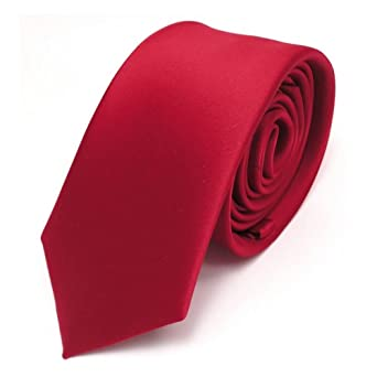 Cravate unie - satin rouge - fine